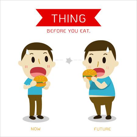 Men are standing eat burgers. Vector