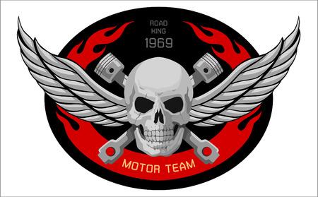 casco rojo: motocicleta cráneo Emblema