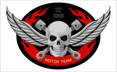 engine fire: motorcycle Skull Emblem