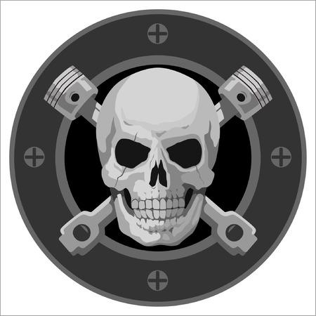 motorcycle Skull Emblem Vector