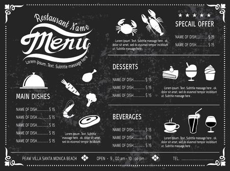 piatto cibo: template Menu di disegno Lavagna a ristorante Vettoriali