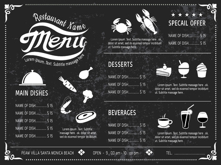 from side: vector template Design Chalkboard menu for restaurant