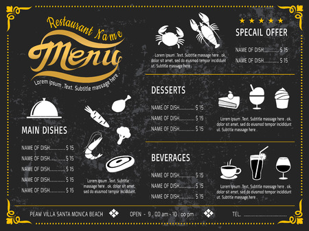 black dish: vector template Design Chalkboard menu for restaurant
