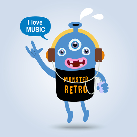retro monster i love music .monster vector graphic Vector