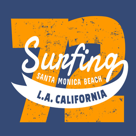 swim wear: California surf illustration, vectors, t-shirt graphics
