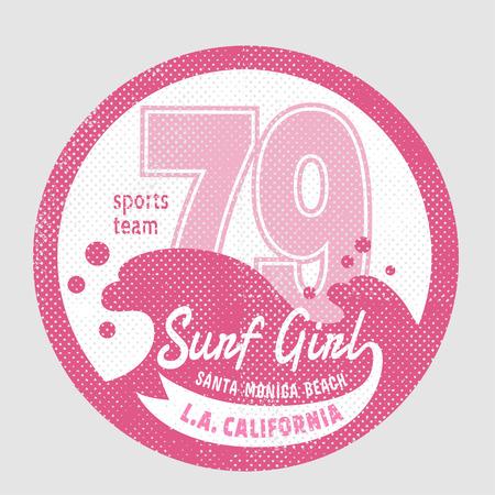 surf girl: California surf girl  illustration, vectors, t-shirt graphics Illustration