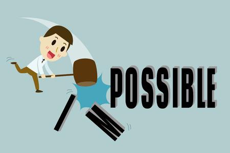 optimist: businessman holding hammer to crack impossible , vector