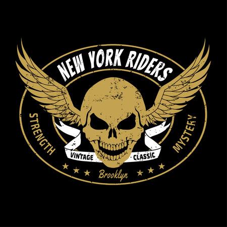 skull logo: NYC new york rider skull head, vectors, t-shirt graphics