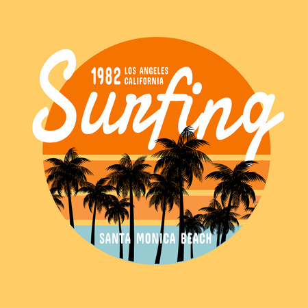 surfing: California surf   illustration, vectors, t-shirt graphics Illustration