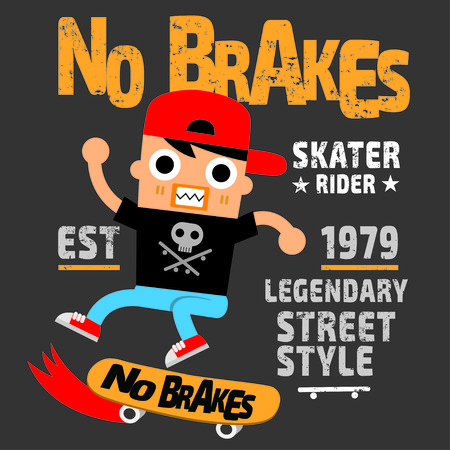 스케이트 보드 스포츠 만화 타이포그래피, 티셔츠 그래픽, 벡터