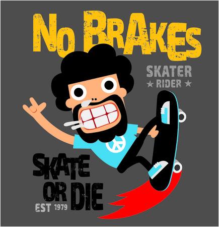 Skate tipografía de dibujos animados deporte tablero, gráficos camiseta, vectores Ilustración de vector