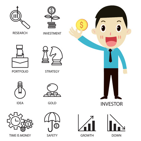 investor: Thin line vector icons of investment Elements for stock marketflat character  investor cartoonstrategy planningmanagementtargetsuccessmodern flat icon collection  illustration concept Illustration