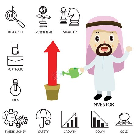 investor: Thin line vector icons of investment Elements for stock marketflat character investor arab businessman cartoonstrategic planningmanagementtargetsuccessmodern flat icon collection concept