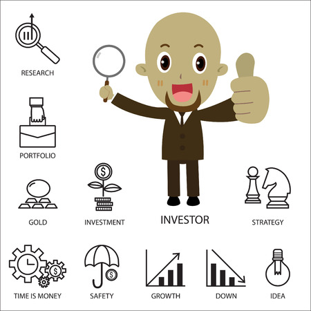 investor: Thin line vector icons of investment Elements for stock marketflat character investor African businessman cartoonstrategic planningmanagementtargetsuccessmodern flat icon collection concept Illustration