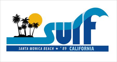 surf team: surf rider california illustration tree coconut tshirt graphics designfashion sport design trendy surfing team   stockvectors