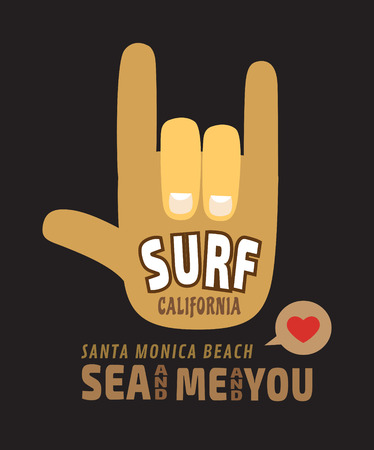 sport wear: i love you California surf illustration vectors tshirt graphics Illustration