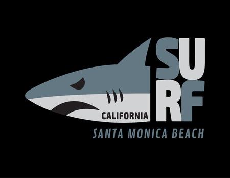 symbol sport: shark Surf Rider california illustration T-Shirt graphicsfashion Sportentwurf trendy Surfteam stockvectors Illustration