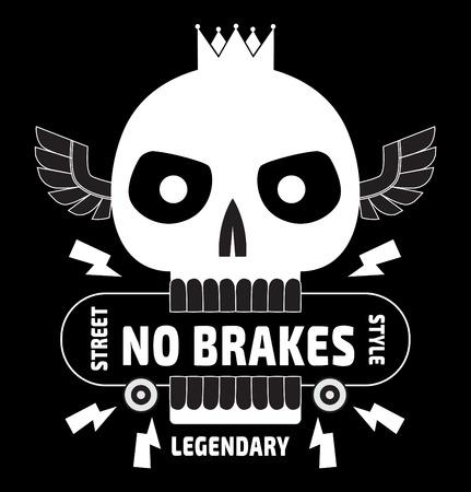 Skateboard king skull typography tshirt graphic design trendy skater skater  Vector