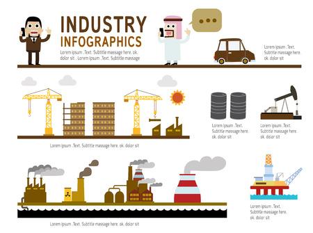 arab people: set of industry modern flat icon  industrial infographic Concept Elements flyer design for website magazineillustration  vector Illustration
