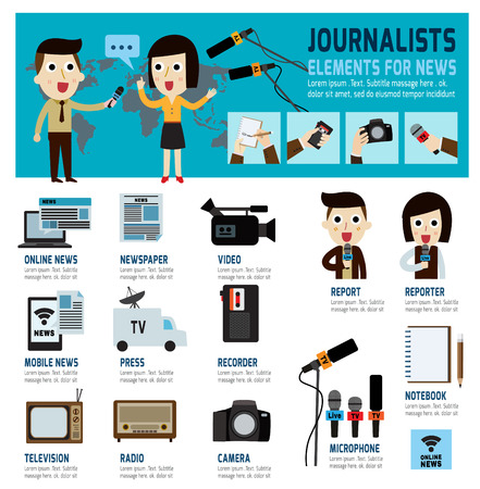 tv network: journalism vector icons of infographics Elements for news reportmodern flat character reporter Caucasian cartooninterviewbroadcastpressrecorderinformation technology concept