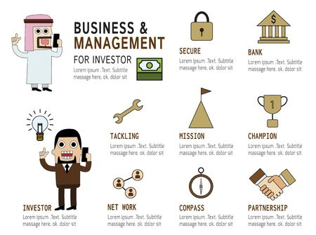 partnership security: set of management modern flat icon Business infographic ConceptElements  design for investmentcharacter investor arab  Caucasian businessman cartoonplanningstrategysuccessmanagementtarget