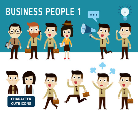 cartoon character: businessman character cartoon design infographic Conceptset of people character cartoon modern flat iconElements banner design for flyer and website newsmagazine vector illustration