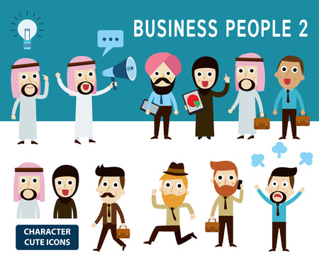 man with laptop: businessman character cartoon design infographic Conceptset of people arab character cartoon modern flat iconElements banner design for flyer and website newsmagazine vector illustration