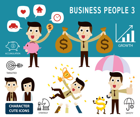 fullbody: businessman character cartoon design. Set of finance concept. vector illustration. Illustration
