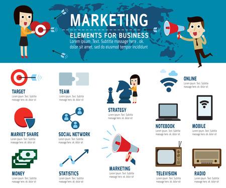 通訊: 營銷理念。信息圖表元素,現代平面圖標,矢量插圖。 向量圖像