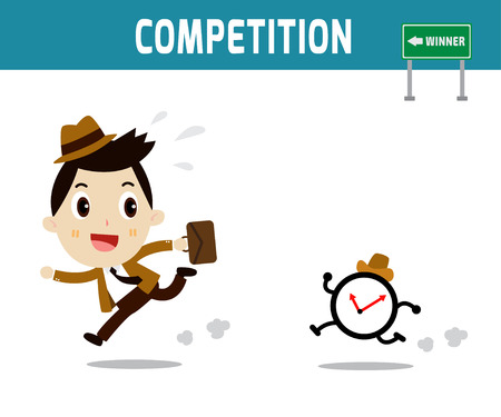 competitor: competitor. businessman race time clock.modern design flat character isolated on white background.graphic vector illustration.business concept. Illustration