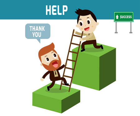 help . Businessman help partner go to on graph modern design flat character isolated on white background.business stock concept.