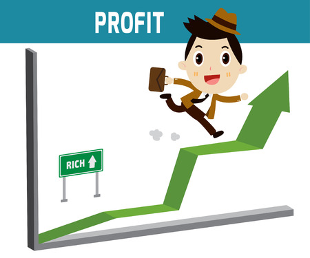 businessplan: Profit . Businessman running  go on the  arrow graph modern design flat character isolated on white background.business stock concept. Illustration
