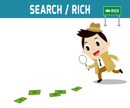emprendimiento: Empresario caminar con lupa en busca de pistas dinero en el car�cter plano de dise�o groundmodern aislado en blanco concepto de background.business.