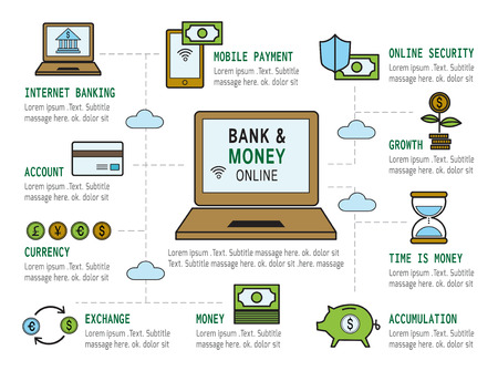 set of bank and money modern flat icon  Business infographic ConceptElements  design for investmentplanningstrategysuccessmanagement target