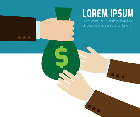giving money: a businessman hand giving a money bag to another person template.modern flat design .isolated on blue and white background.graphic vector illustration.business concept. Illustration