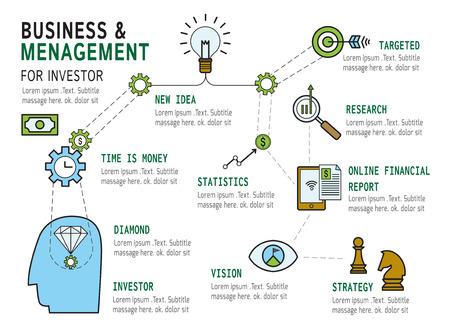 online business: set of management modern flat icon  Business infographic ConceptElements  design for investmentplanningstrategysuccessmanagement target Illustration