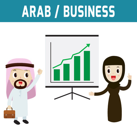 consultancy: profit. middle east people standing and presentation profitability.modern design flat icon character elements.isolated on white background.graphic vector illustration.business concept. Illustration
