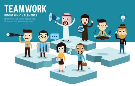 trabajo en equipo: Diseño plano carácter Teamworkmodern de unity.isolated en azul y blanco ilustración vectorial background.graphic. el mejor concepto de equipo.