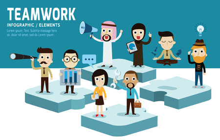 Teamworkmodern karakter platte ontwerp van unity.isolated op blauwe en witte background.Graphic vector illustratie. het beste team concept.