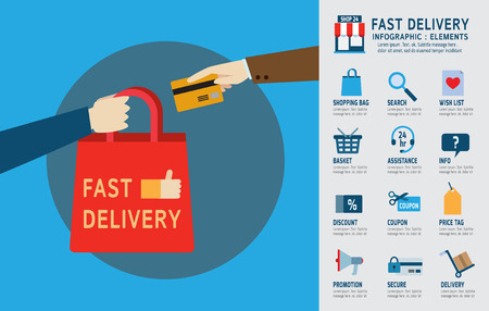 ordering: online ordering and fast delivery service. infographic elements. modern design flat icons. isolated on white background. graphic vector illustration. ecommerce business concept.