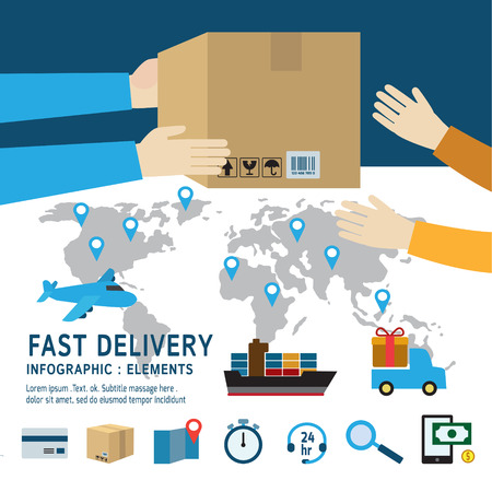 delivery: delivery service Set of shipment icons .International delivery and worldwide.Isolated on background . Flat design vector illustration concept.