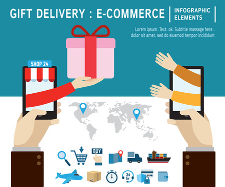 ordering: online gifts ordering and delivery service.infographic elements.modern flat icon. vector illustration.ecommerce business concept. Illustration