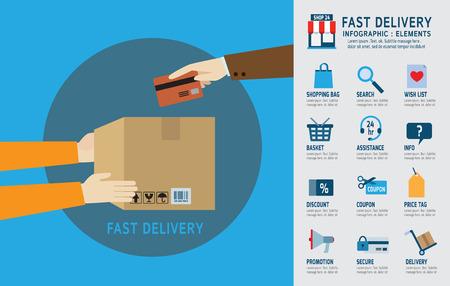 온라인 주문과 빠른 배송 service.infographic elements.modern 디자인 플랫 아이콘. 흰색 background.graphic 벡터 illustration.ecommerce 비즈니스 개념입니다.