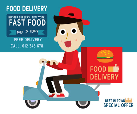Fast food delivery.man hipster is riding  motorbike.modern design flat character people. isolated white on blue background. graphic vector illustration. delivery business concept.