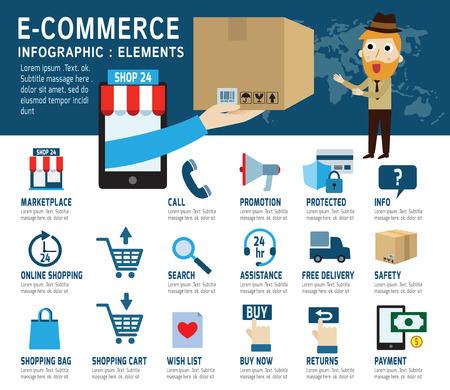 E-commerce Set van winkelen iconen Fast het delivery service geïsoleerd op wit en blauw backgroundFlat ontwerp vector illustratie concept.