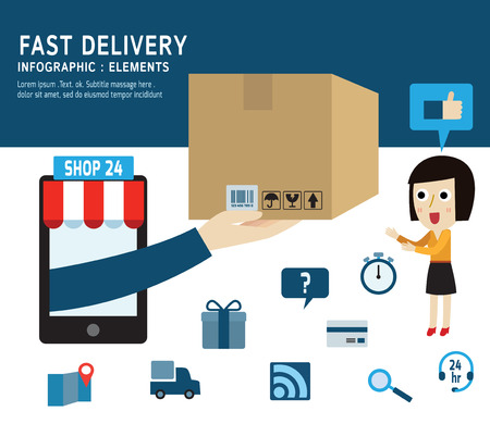 fast delivery service isolated on white and blue backgroundFlat design vector illustration concept.