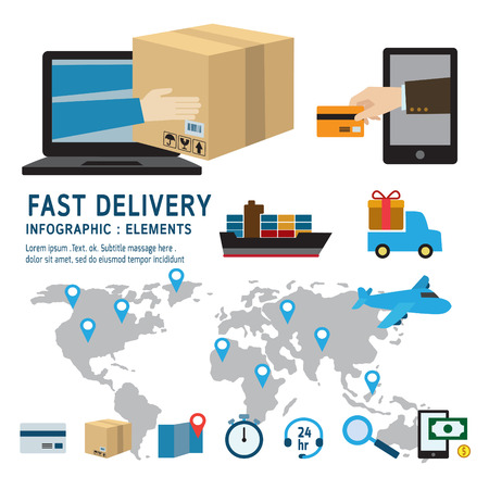 ecommerce: online ordering and fast delivery service.infographic elements.modern design flat icons. isolated on white background.graphic vector illustration.ecommerce business concept. Illustration