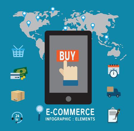 symbol hand: E-Commerce Online-Bestellung .symbol Hand Kauf auf mobile.infographic elements.modern Design flache Ikonen. isoliert auf blauem background.Graphic vector illustration.ecommerce Business-Konzept.
