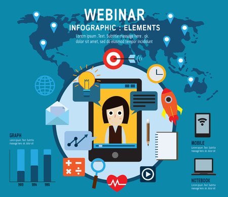 lectures: elearning Set of webinar icons .online learning professional lectures in internet. Isolated on backgroundFlat design vector illustration concept.