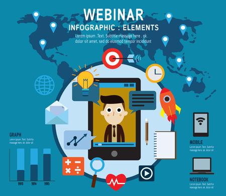 aprendizaje: elearning Conjunto de iconos webinar .online aprendizaje conferencias profesionales en internet. Aislado en backgroundFlat diseño vectorial Ilustración de concepto.